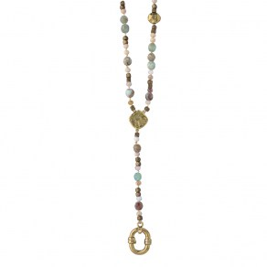 Waxing Poetic Evolution Y Necklace - Brass & Opal