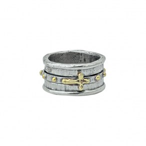 Waxing Poetic Faith Spinner Ring - Sterling Silver & Brass