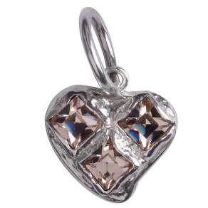 Waxing Poetic Bright Heart Charm - Sterling Silver - Swarovsk