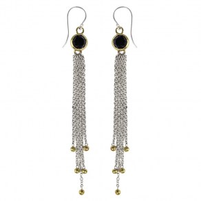 Waxing Poetic Clair de Lune Earrings - SS, BR & Black Onyx