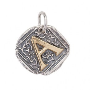 Waxing Poetic Century Insignia Charm -A- Sterling Silver & Brass