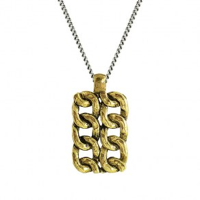Waxing Poetic Chain Tag Necklace - Sterling Silver and Brass - 61cm