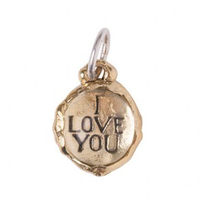 Waxing Poetic Clarus Charm - I Love You - Brass & Glass