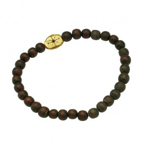 Waxing Poetic Compass Beaded Stretch Bracelet - Brass and Wood  - Large