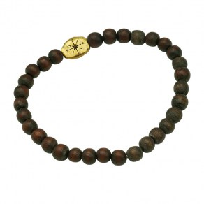 Waxing Poetic Compass Beaded Stretch Bracelet - Brass and Wood  - Small