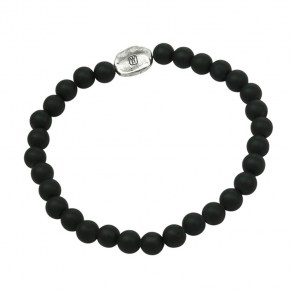 Waxing Poetic Compass Beaded Stretch Bracelet - SS & Black Onyx - Large
