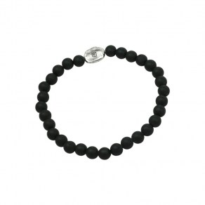 Waxing Poetic Compass Beaded Stretch Bracelet - SS & Black Onyx - Small