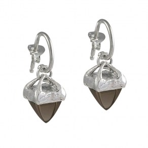 Waxing Poetic Gravitas Earrings - Sterling Silver and Smoky Quartz