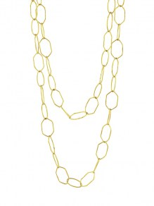 Waxing Poetic Kith Double Chain Necklace - Brass 45cm/42.5cm