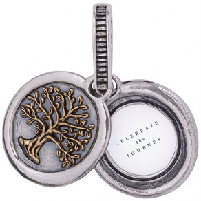 Waxing Poetic Tree Of Life Frame Locket Set-Sterling Silver & Brass