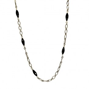 Waxing Poetic Celeste Chain - Sterling Silver, Brass and Black Onyx - 71cm