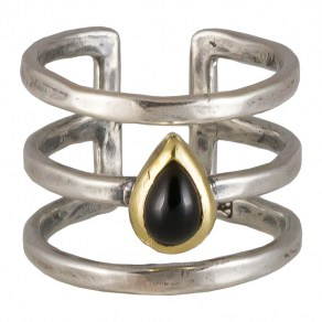 Waxing Poetic Periphery Triple Ring - SS, Brass and Onyx