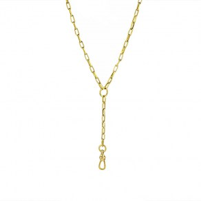 Waxing Poetic Seppo Y Necklace - Brass - 33cm w/clip + 5cm Extender