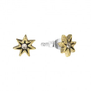 Waxing Poetic Starlight Stud Earrings - Brass,  Sterling Silver and CZ