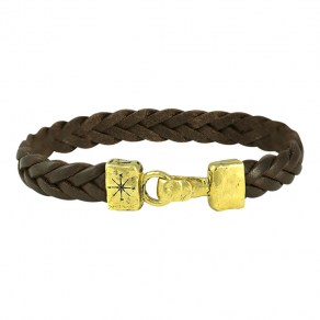 Waxing Poetic Unified Front Leather Bracelet - Brass - Large