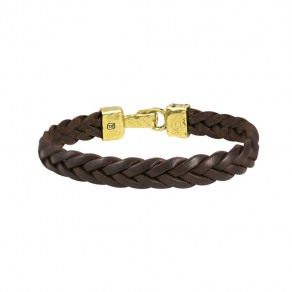 Waxing Poetic Unified Front Leather Bracelet - Brass - Small